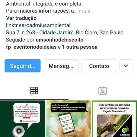 Perfil Instagram Cadmius Ambiental